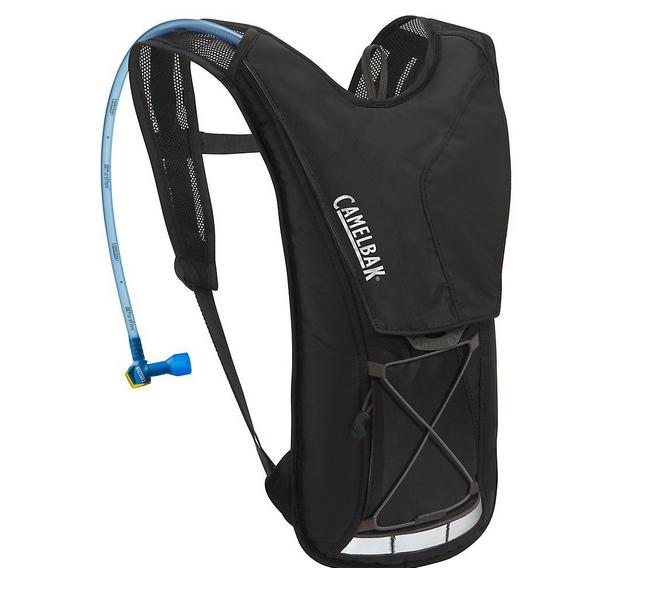 Billede af en Camelbak rygsæk som typisk bruges til at have med på de længere cykelture. Nem og hurtig måde at få vand på - og samtidig en god måde at opbevare ekstra småting i.